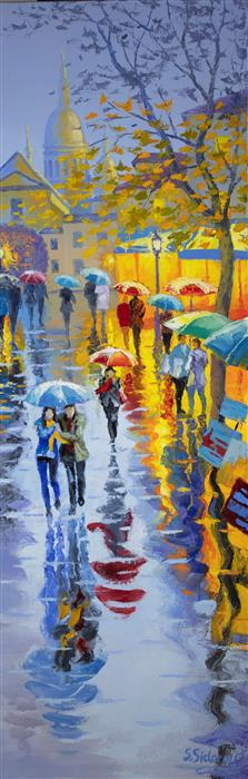 Original art for sale at UGallery.com | Rain in Paris Montmartre by Stanislav Sidorov | $875 | oil painting | 30' h x 10' w | ..\art\oil-painting-Rain-in-Central-Park-New-York