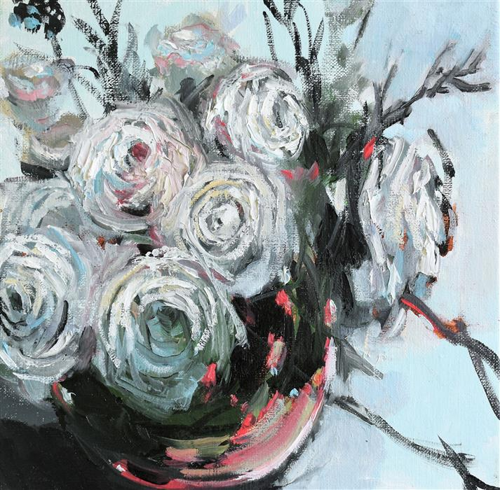 Original art for sale at UGallery.com | Flower Bowl by Mary Pratt | $325 | oil painting | 12' h x 12' w | ..\art\oil-painting-Flower-Bowl