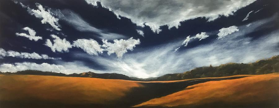 Original art for sale at UGallery.com | Silver Lining IX by Mandy Main | $1,275 | oil painting | 16' h x 40' w | ..\art\oil-painting-Silver-Lining-IX