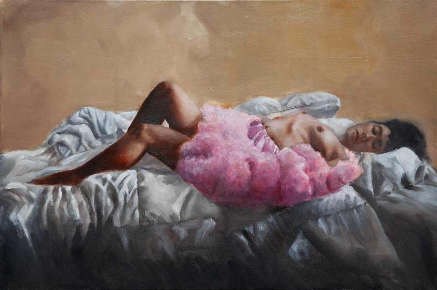 Original art for sale at UGallery.com | Ninon Reclining by John Kelly | $3,000 | oil painting | 24' h x 36' w | ..\art\oil-painting-Ninon-Reclining