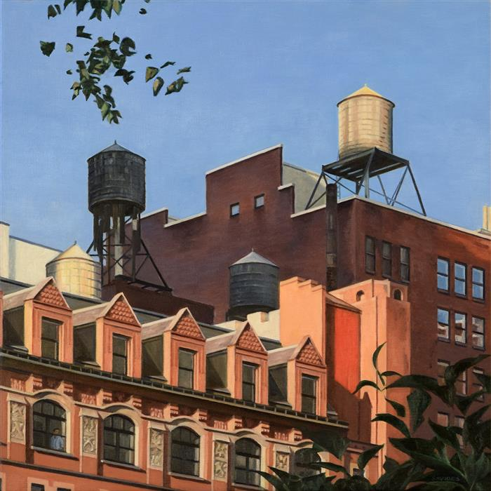 Original art for sale at UGallery.com | Rooftops from Madison Square Park by Nick Savides | $2,850 | oil painting | 24' h x 24' w | ..\art\oil-painting-Rooftops-from-Madison-Square-Park