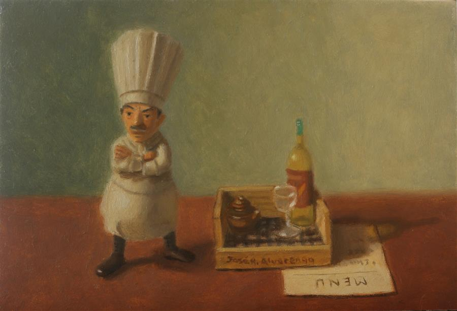 Original art for sale at UGallery.com | The Chef by Jose H. Alvarenga | $325 | oil painting | 5' h x 7' w | ..\art\oil-painting-The-Chef