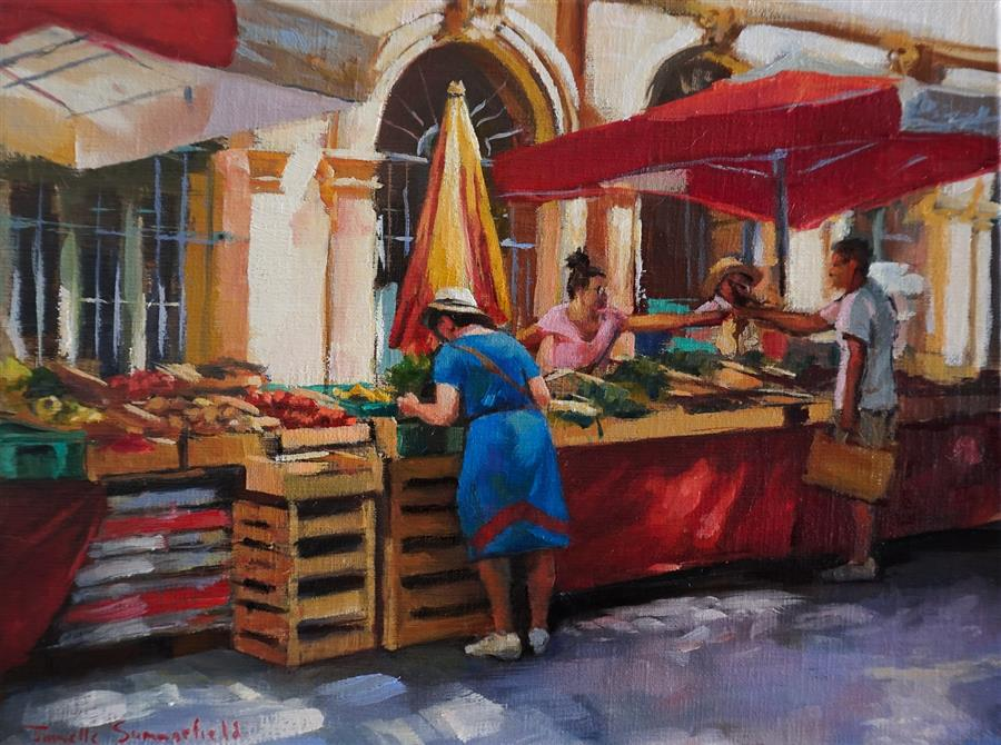 Original art for sale at UGallery.com | Market in Aix by Jonelle Summerfield | $525 | oil painting | 9' h x 12' w | ..\art\oil-painting-Market-in-Aix