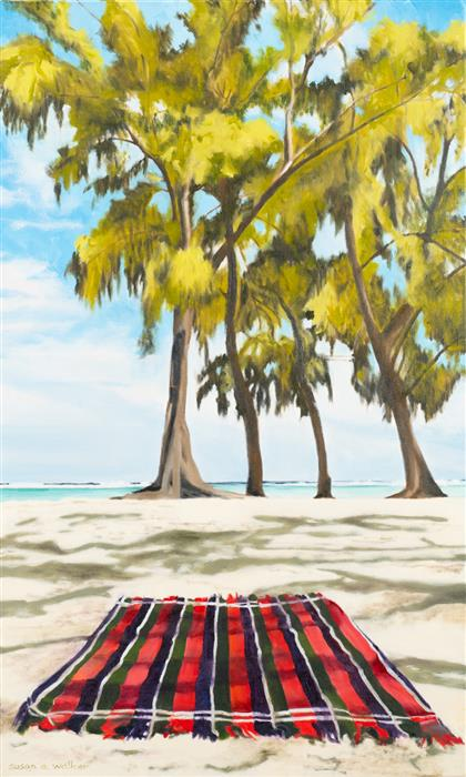 Original art for sale at UGallery.com | Beach Blanket by Susan Walker | $1,150 | oil painting | 30' h x 18' w | ..\art\oil-painting-Beach-Blanket