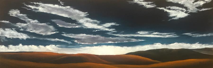 Original art for sale at UGallery.com | Golden Hills XXIV by Mandy Main | $950 | oil painting | 12' h x 36' w | ..\art\oil-painting-Golden-Hills-XXIV
