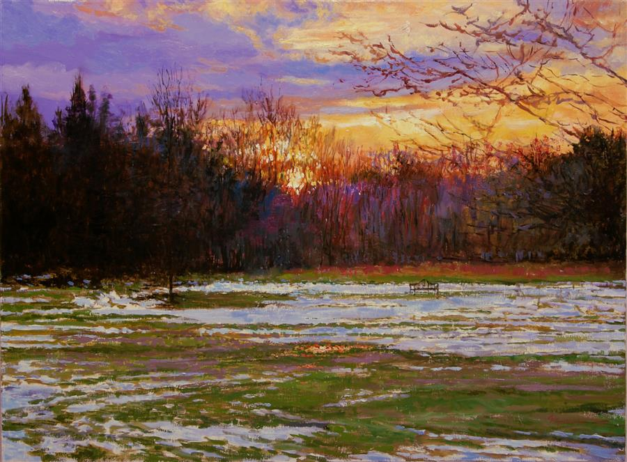 Original art for sale at UGallery.com | Early Morning, Late Snow by Onelio Marrero | $1,025 | oil painting | 18' h x 24' w | ..\art\oil-painting-Early-Morning-Late-Snow
