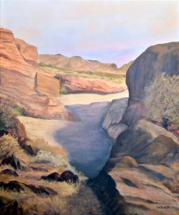 Original art for sale at UGallery.com | Afternoon Shadows in San Lorenzo Canyon by Eugene Rinchik | $725 | oil painting | 24' h x 20' w | ..\art\oil-painting-Afternoon-Shadows-in-San-Lorenzo-Canyon