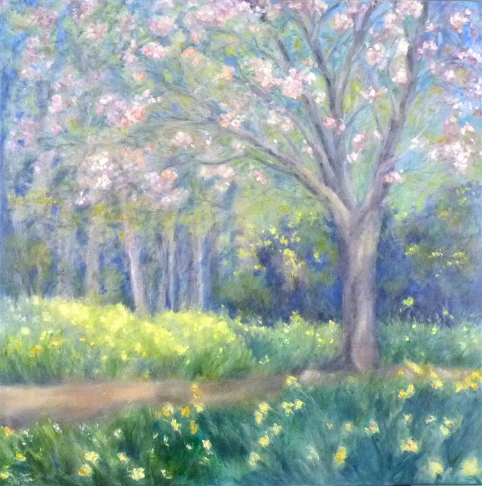 Original art for sale at UGallery.com | Heralding Spring No. 2 by Elizabeth Garat | $1,800 | oil painting | 30' h x 30' w | ..\art\oil-painting-Heralding-Spring-No-2