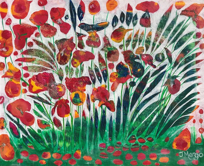 Original art for sale at UGallery.com | Fiery Irises by Joyanna Margo | $525 | acrylic painting | 16' h x 20' w | ..\art\acrylic-painting-Fiery-Irises