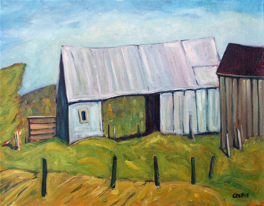 Original art for sale at UGallery.com | Tin Barn, St Lawrence County, NY by Doug Cosbie | $375 | oil painting | 11' h x 14' w | ..\art\oil-painting-Tin-Barn-St-Lawrence-County-NY