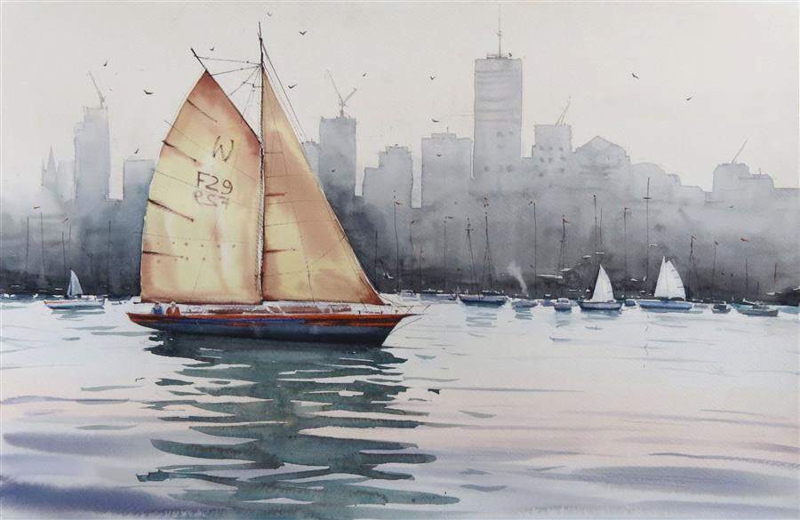 Original art for sale at UGallery.com | Catching the Wind in My Sails by Swarup Dandapat | $750 | watercolor painting | 15' h x 22' w | ..\art\watercolor-painting-Catching-the-Wind-in-My-Sails