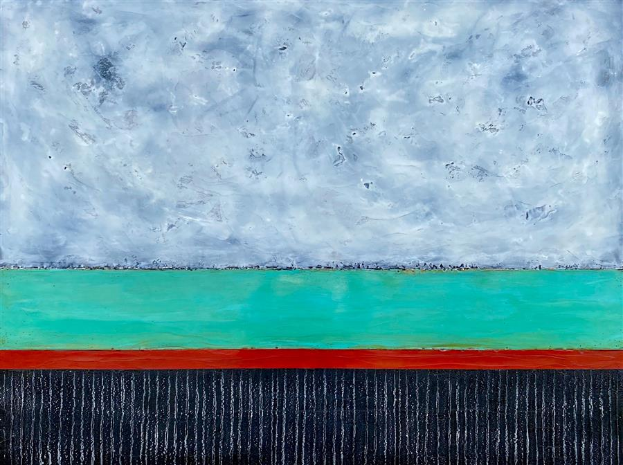 Original art for sale at UGallery.com | Traces of a Journey by Tamera Abate | $2,900 | encaustic artwork | 36' h x 48' w | ..\art\encaustic-artwork-Traces-of-a-Journey
