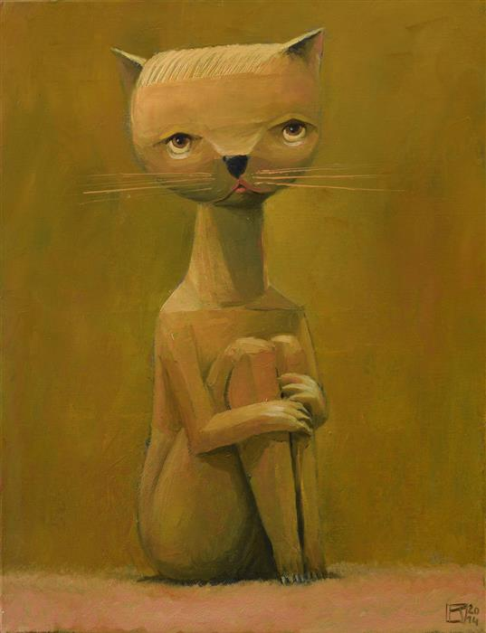 Original art for sale at UGallery.com | Lonely Kitten by Krzysztof Iwin | $1,600 | oil painting | 17.71' h x 13.77' w | ..\art\oil-painting-Lonely-Kitten
