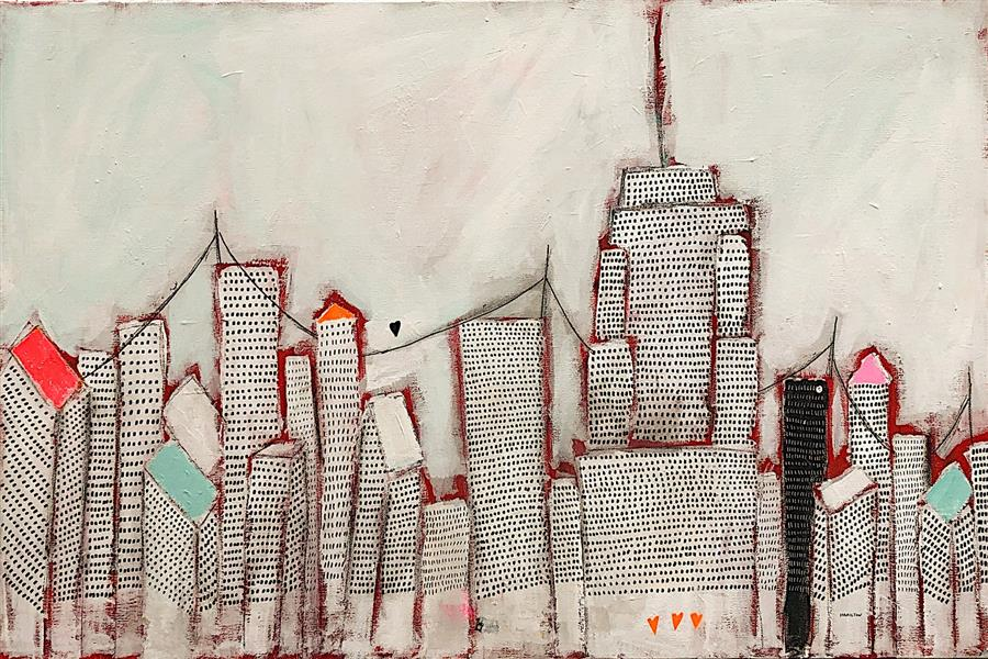 Original art for sale at UGallery.com | Love in the City by Rick Hamilton | $1,700 | acrylic painting | 24' h x 36' w | ..\art\acrylic-painting-Love-in-the-City