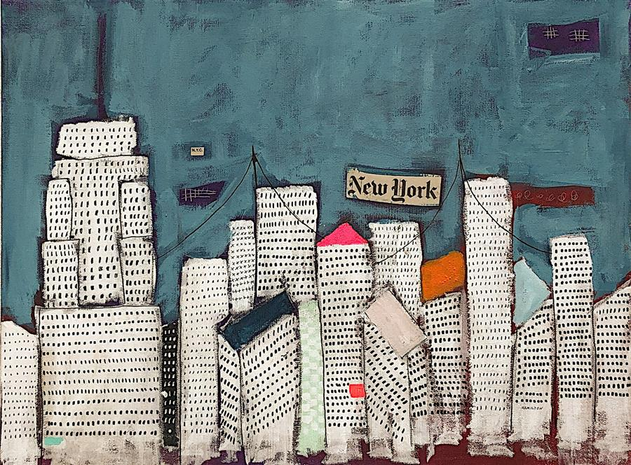 Original art for sale at UGallery.com | My Blue New York by Rick Hamilton | $850 | mixed media artwork | 18' h x 24' w | ..\art\mixed-media-artwork-My-Blue-New-York