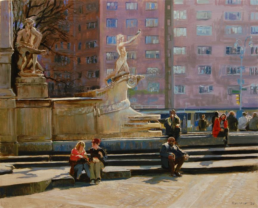 Original art for sale at UGallery.com | At Columbus Circle by Onelio Marrero | $1,000 | oil painting | 16' h x 20' w | ..\art\oil-painting-At-Columbus-Circle