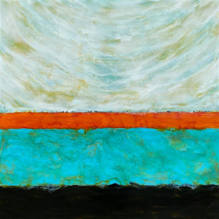 Original art for sale at UGallery.com | Freewheeling Horizon by Tamera Abate | $2,250 | encaustic artwork | 36' h x 36' w | ..\art\encaustic-artwork-Freewheeling-Horizon