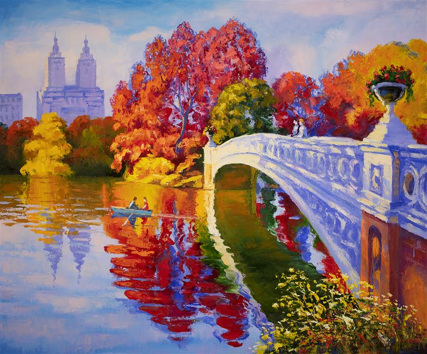 Original art for sale at UGallery.com | Bow Bridge. Central Park. New York. by Stanislav Sidorov | $950 | oil painting | 20' h x 24' w | ..\art\oil-painting-Bow-Bridge-Central-Park-New-York