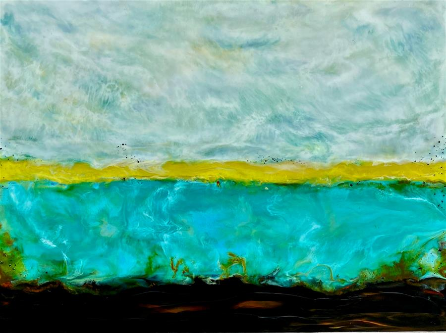 Original art for sale at UGallery.com | Freewheeling Sunshine by Tamera Abate | $850 | encaustic artwork | 18' h x 24' w | ..\art\encaustic-artwork-Freewheeling-Sunshine