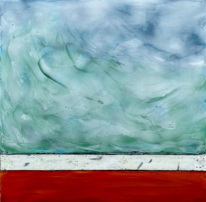 Original art for sale at UGallery.com | Summer Wind by Tamera Abate | $1,125 | encaustic artwork | 24' h x 24' w | ..\art\encaustic-artwork-Summer-Wind
