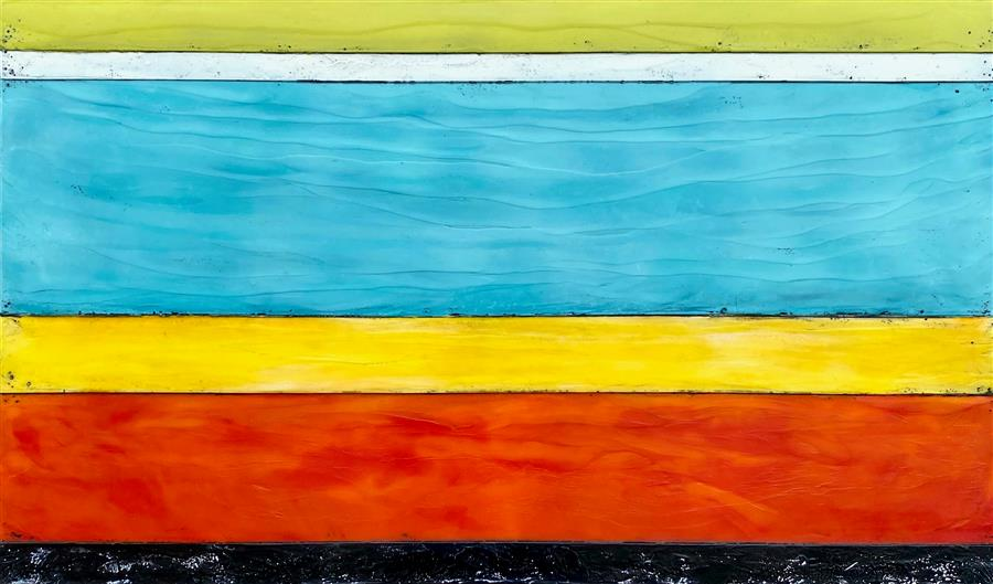 Original art for sale at UGallery.com | Between the Lines by Tamera Abate | $2,175 | encaustic artwork | 23' h x 37' w | ..\art\encaustic-artwork-Between-the-Lines