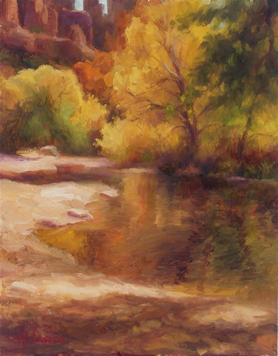 Original art for sale at UGallery.com | Autumn at Red Rock Crossing by Sherri Aldawood | $525 | oil painting | 14' h x 11' w | ..\art\oil-painting-Autumn-at-Red-Rock-Crossing