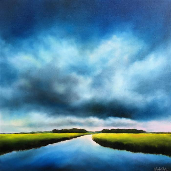 Original art for sale at UGallery.com | Blue Clouds Marsh by Nancy Hughes Miller | $1,400 | oil painting | 30' h x 30' w | ..\art\oil-painting-Blue-Clouds-Marsh