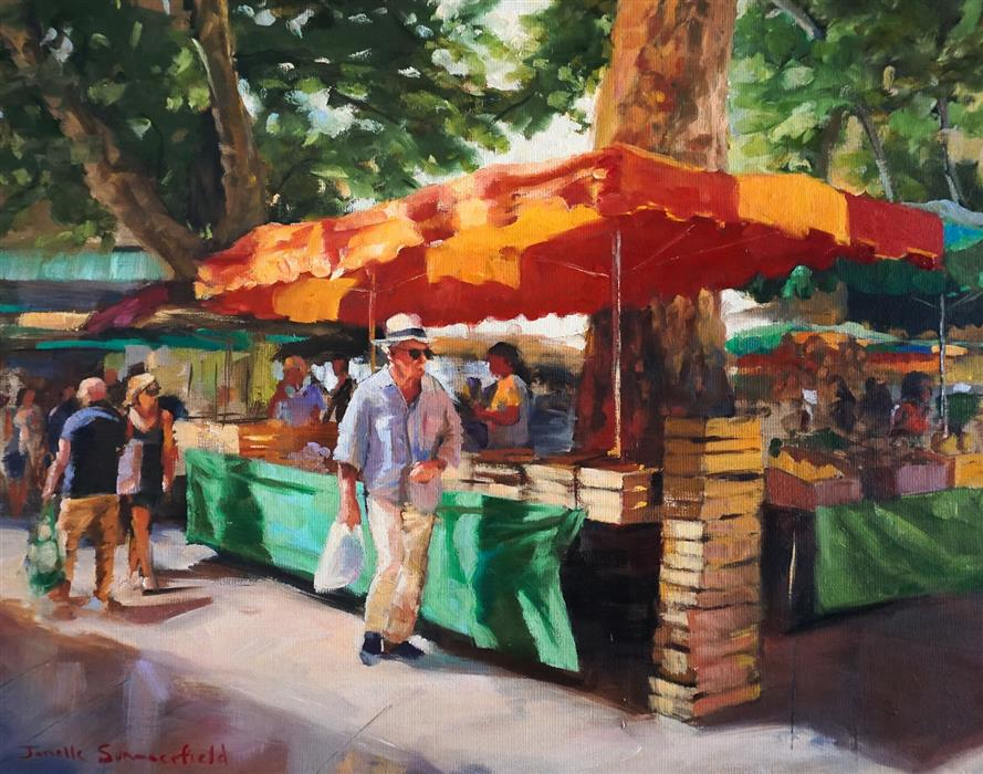 Original art for sale at UGallery.com | Market in Aix II by Jonelle Summerfield | $800 | oil painting | 14' h x 18' w | ..\art\oil-painting-Market-in-Aix-II