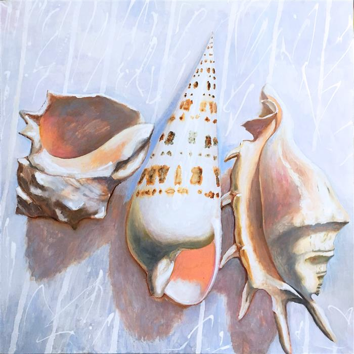 Original art for sale at UGallery.com   White Seashells by Petr Ldin   $2,350   oil painting   39.3' h x 39.3' w   ..\art\oil-painting-White-Seashells