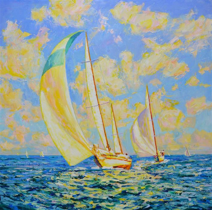 Original art for sale at UGallery.com | Festive Regatta by Iryna Kastsova | $2,350 | oil painting | 39' h x 39' w | ..\art\oil-painting-Festive-Regatta