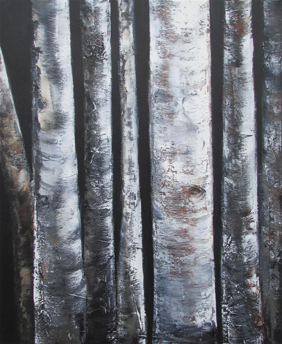Original art for sale at UGallery.com | Seven Birch Trunks by Valerie Berkely | $450 | oil painting | 20' h x 16' w | ..\art\oil-painting-Seven-Birch-Trunks