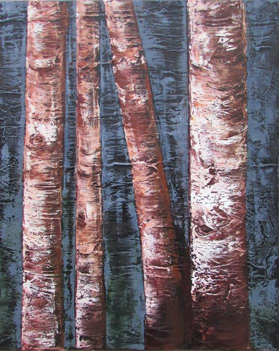 Original art for sale at UGallery.com | Four Birch Trunks by Valerie Berkely | $450 | oil painting | 20' h x 16' w | ..\art\oil-painting-Four-Birch-Trunks