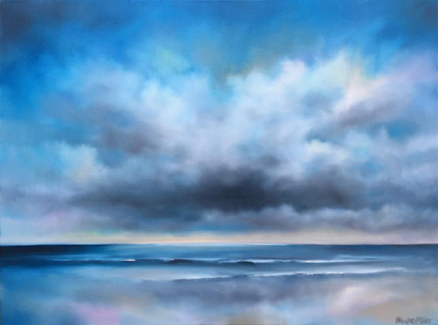 Original art for sale at UGallery.com | Sea Clouds by Nancy Hughes Miller | $750 | oil painting | 18' h x 24' w | ..\art\oil-painting-Sea-Clouds