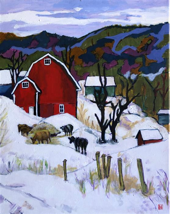 Original art for sale at UGallery.com | Winter Farm by Laura (Yi Zhen) Chen | $550 | acrylic painting | 20' h x 16' w | ..\art\acrylic-painting-Winter-Farm