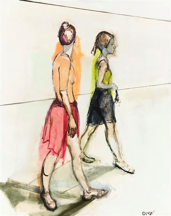 Original art for sale at UGallery.com | Ballerinas Walking by Liz Brozell | $1,825 | oil painting | 30' h x 24' w | ..\art\oil-painting-Ballerinas-Walking
