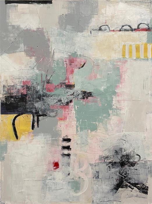 Original art for sale at UGallery.com | Bistro by Shellie Garber | $1,875 | mixed media artwork | 40' h x 30' w | ..\art\mixed-media-artwork-Bistro-67921