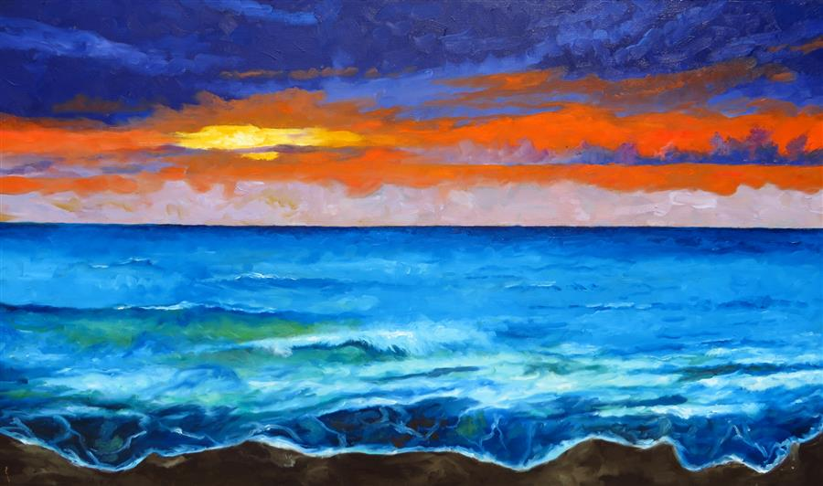 Original art for sale at UGallery.com | Sunset by Mitchell Freifeld | $1,375 | oil painting | 30' h x 50' w | ..\art\oil-painting-Sunset-67935