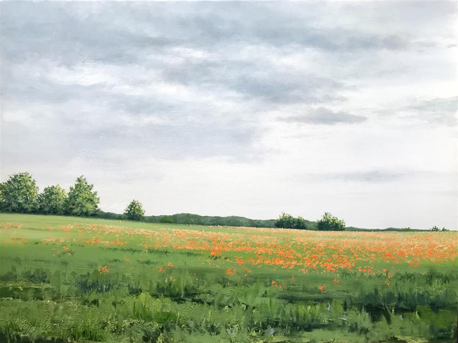 Original art for sale at UGallery.com | Poppy Field by Jill Poyerd | $1,600 | oil painting | 18' h x 24' w | ..\art\oil-painting-Poppy-Field-67940