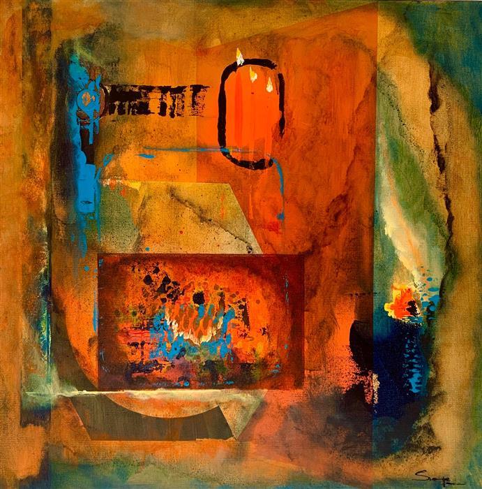 Original art for sale at UGallery.com | Invoking Pandora by Yamilet Sempe | $1,100 | mixed media artwork | 24' h x 24' w | ..\art\mixed-media-artwork-Invoking-Pandora