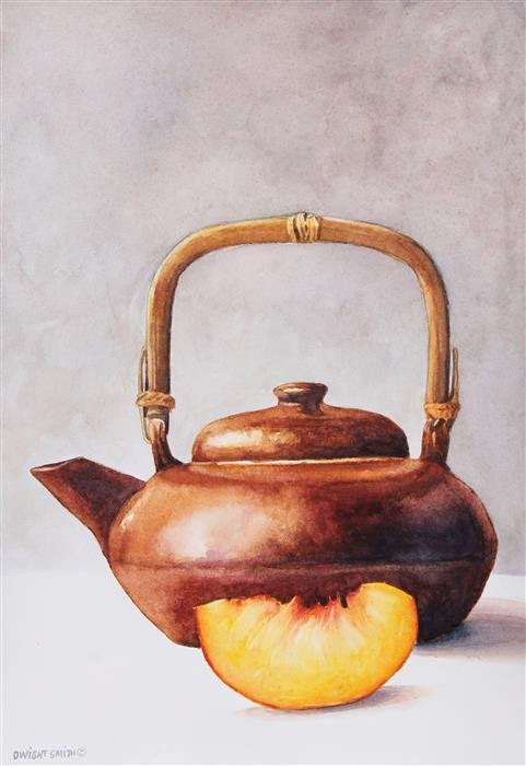 Original art for sale at UGallery.com | Peach Tea by Dwight Smith | $325 | watercolor painting | 10' h x 7' w | ..\art\watercolor-painting-Peach-Tea