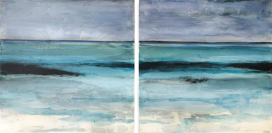 Original art for sale at UGallery.com | Tranquil Shores by Drew Noel Marin | $2,900 | acrylic painting | 24' h x 48' w | ..\art\acrylic-painting-Tranquil-Shores