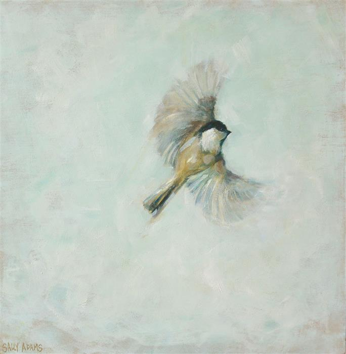 Original art for sale at UGallery.com | Chickadee in Flight by Sally Adams | $375 | acrylic painting | 12' h x 12' w | ..\art\acrylic-painting-Chickadee-in-Flight