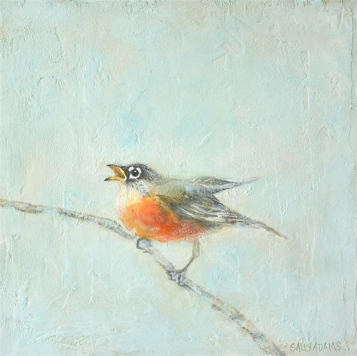 Original art for sale at UGallery.com | Baby Robin by Sally Adams | $375 | acrylic painting | 12' h x 12' w | ..\art\acrylic-painting-Baby-Robin
