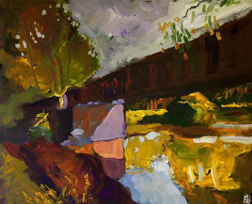 Original art for sale at UGallery.com | Study of a Bridge by Robert Hofherr | $1,025 | acrylic painting | 22' h x 28' w | ..\art\acrylic-painting-Study-of-a-Bridge