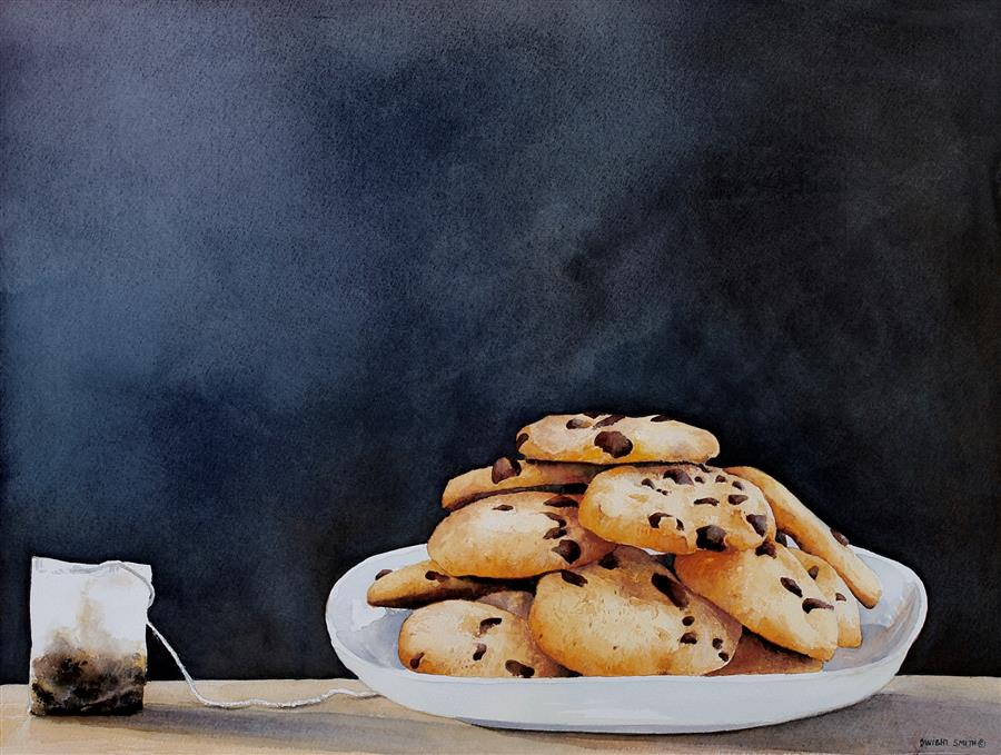 Original art for sale at UGallery.com | Tea Cookies by Dwight Smith | $475 | watercolor painting | 12' h x 16' w | ..\art\watercolor-painting-Tea-Cookies