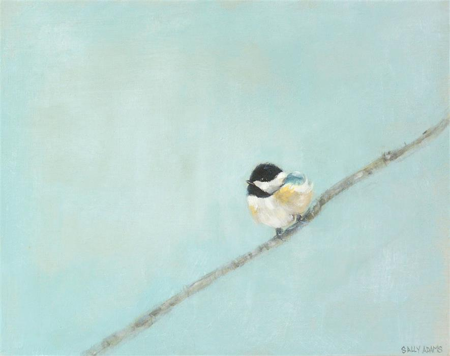 Original art for sale at UGallery.com | Baby Chickadee by Sally Adams | $375 | acrylic painting | 11' h x 14' w | ..\art\acrylic-painting-Baby-Chickadee