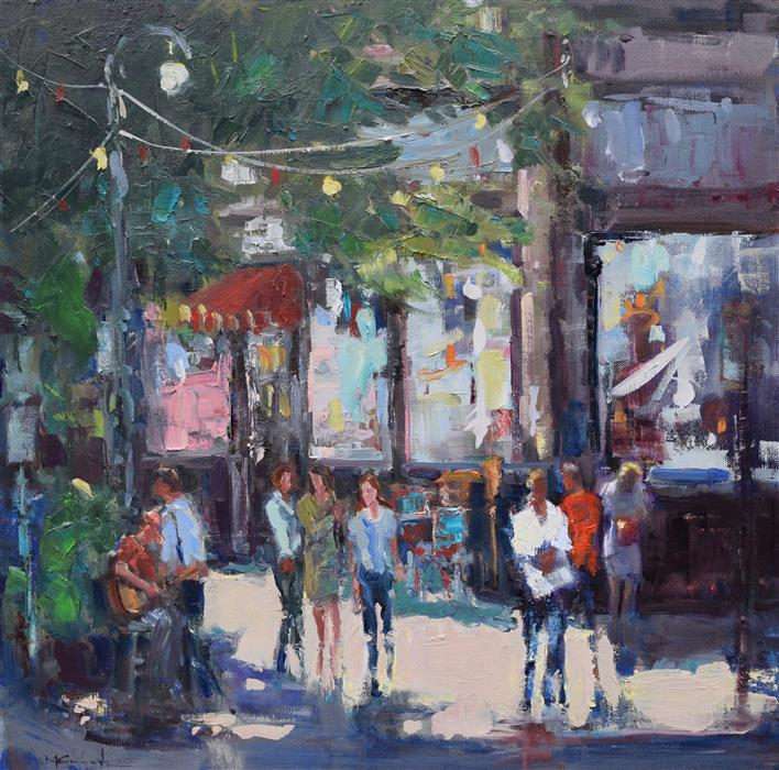 Original art for sale at UGallery.com | Corner Busker by Mickey Cunningham | $1,050 | oil painting | 20' h x 20' w | ..\art\oil-painting-Corner-Busker