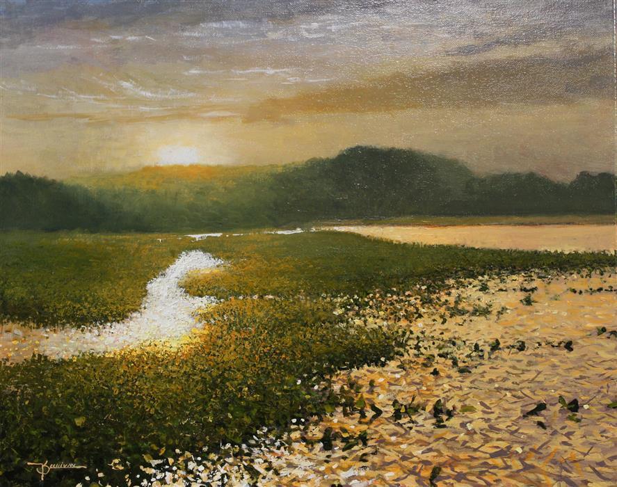 Original art for sale at UGallery.com | Dunwoody Lake by Kent Sullivan | $1,650 | oil painting | 16' h x 20' w | ..\art\oil-painting-Dunwoody-Lake