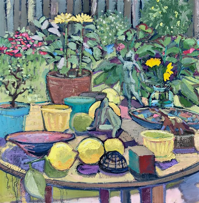 Original art for sale at UGallery.com | Table in Garden, with Citrons by James Hartman | $2,850 | oil painting | 36' h x 36' w | ..\art\oil-painting-Table-in-Garden-with-Citrons