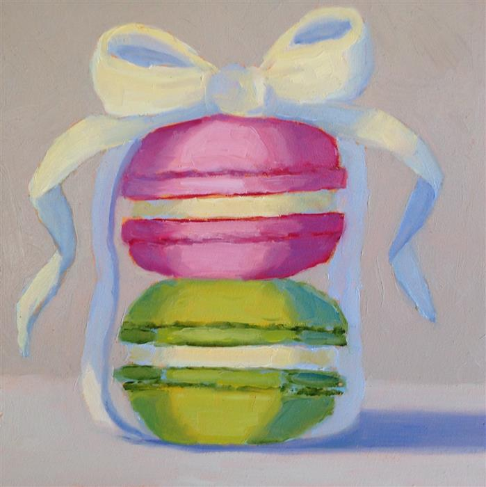 Original art for sale at UGallery.com | Two Macarons by Pat Doherty | $225 | oil painting | 6' h x 6' w | ..\art\oil-painting-Two-Macarons
